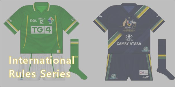 The kits worn in the hybrid International Rules games between Ireland and Australia.