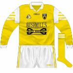 1997-99: Long-sleeved version of the new jersey. The size of the Bushmills logo could well have contravened GAA regulations.