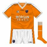 2002: A subtle change made to the Armagh jerseys for the start of the 2002 championship was that the Morgan Fuels logo was now in white and outlined in black whereas the opposite had been the case. 'Normal' O'Neills numbers returned.