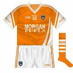 2010-11: Black disappeared from the Armagh jersey for the new kit launched in 2010, which featured aspects of the design used by Westmeath and the Irish international rules side.