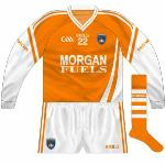 2010-11: Initially the new outfit was worn in long-sleeved format for early-season games. O'Neills normally favour contrasting cuffs on long sleeves but the cuffs on the new Armagh jersey were white.