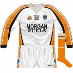 2008-09: For league games against Cork in 2008 and '09, Armagh changed to white jerseys, even though in the latter the responsibility should have fallen to the Rebels. Basically a reversal of the orange jersey, it was first seen with long sleeves.