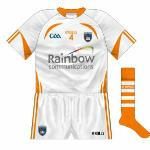 2013: As usual, the change jersey reflected that of the 'home', and was first seen in the McGrath Cup game against Down - though normally games between the counties do not call for changes.