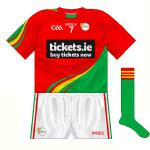 2015-: 2015-: Perhaps surprisingly, the same style - first seen on Mayo three years previously - was used for the 'proper' new jersey, though with the red and green reversed. A round neck also featured with Tickets.ie the new sponsors - the jersey launch had shown their logo without the black box.