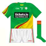 2015-: A change was rarely, if ever, required when Carlow played in the distinctive tri-hooped design. However, with a predominantly red style now in use, an U21 clash with Louth meant a green version of the new jersey had to be produced.
