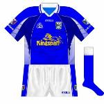 2004-06: The next change introduced navy as a prominent tertiary colour. Though the design was widely seen on club jerseys, Cavan were one of the few counties to utilise it.