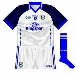 2011: New jersey with the blue and white reversed from the normal shirt. Worn against Tipperary in the league and Longford in the championship.