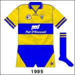 Connolly came up with a new deisgn. As far as we can ascertain, though, this variant was only worn in the 1995 league final against Kilkenny. Clare, having lost the 1993 and '94 Munster finals, suffered another defeat and looked fated not to enjoy success.