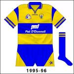 Come the championship an extra blue stripe was added on the shoulders. This jersey would receive much prominence as Clare ended the long wait for an All-Ireland senior title.