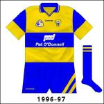 Another update, with the sleeves again the recipient of most change, along with the shorts, as Clare won a second All-Ireland in three years. The design on the sleeves was saffron and blue quarters.