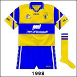 Clare returned to O'Neills, who utilised a style which had previously only been seen on Dublin's sleeves. For the Munster semi-final against Cork, rare saffron socks were worn while the shorts had white trim.