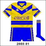 The introduction of this new jersey, to coincide with the addition of new sponsors Eircell, was a new departure for Clare, with the normal blue hoop lower than usual (and broken with a narrow saffron stripe) while a 'V' adorned the upper part of the body.