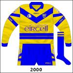 Long-sleeved variation. Clare had almost always had white numbers due to the blue hoop, but even though the surface for the number was now solid saffron this remained the case, making visibility difficult.