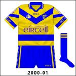 One change not long after the launch of the new jersey in 2000 came with the addition of blue and white stripes to the collar, though not the neck. The lower hoop was now solid blue too.