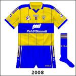 Numbers were added to the front of counties' jerseys for the first time in 2008, but otherwise the Clare rig-out remained unchanged. Well almost - the '& Co. Ltd.' part disappeared from the Pat O'Donnell logo.
