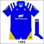 As each county had more of its secondary colour than usual, Clare and Tipperary were ordered to change for the Munster hurling final. This shirt is not fondly remembered as Clare lost by 3-27 to 2-12.