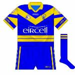 2000:  Initially, the goalkeeper's jersey in 2000 was a reversal of the new jersey bar the narrow blue stripe travelling through the lower hoop.