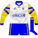 2000:  Change goalkeeper outfit, a white body with the same sleeves as usual. Worn against Kerry in the 2000 Munster SFC final, but oddly never against Tipperary.
