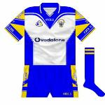 2002-05:  Davy Fitzgerald often wore this white goalkeeper's jersey in preference to the traditional view. Bar the collar and obviously on the GAA logo and crest, the only saffron was on the sleeves.