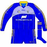 2006-07:  This jersey replaced the other two fairly quickly following the introduction of the new kit. While the part housing the GAA logo and Clare crest looks sky blue, it was in fact white with numerous small blue dots.