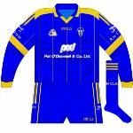 2006:  When the new kit was launched in 2006, initially the goalkeeper jersey was a reversal of it, barring the hoop. Used for a few league games in the early spring.