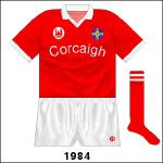 To mark the Centenary All-Ireland hurling final in 1984, special jerseys were ordered. The Cork coat of arms, GAA's new logo and the county name in Irish all featured.