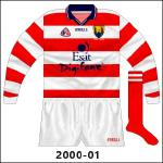 Cork launched a new jersey with navy trim in 2000, and the hooped goalkeeper shirt also received modifications.