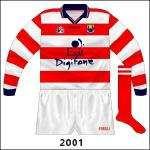 Hooped version (red and white reversed) with the new crest and navy cuffs, as used by football goalkeeper Kevin O'Dwyer.