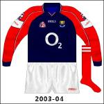 Navy version, worn when Cork donned white away to Galway in the 2003 hurling league and in football against Armagh (2003) and Westmeath (2004).