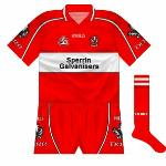 2004-05: The previous year's shirt was retired after just one campaign, and instead Derry lined out in a similar, but more restrained edition, with red again given priority.