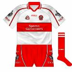 2005: The mainly-red shirt remained the first choice for the early part of the '05 championship (causing a bad colour clash against Armagh), but white returned for the All-Ireland qualifier series.