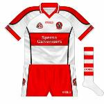 2006-07: An odd choice for the county's new shirt, as it was an O'Neills style which had been in circulation for two years before hand. Black trim on the sides meant the red hoop was broken.