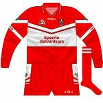 2003: For the championship game against Tyrone, Derry opted for long sleeves, the jerseys now carrying the Sperrin Galvanisers name.