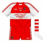 2014-: Again, a plain switch, including the contrast sleeves. First used against Armagh (who also changed) in the Ó Fiaich Cup at the end of 2013.