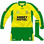 2003: Donegal changed from O'Neills to Azzurri in 2003, the Waterford company providing this nice design. Significantly lighter in colour than usual, however.