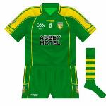 2009: Later that year in the Ulster SFC against Antrim, however, Donegal wore a reversal of their normal shirts.