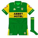 2004: Azzurri followed O'Neills' lead in giving Donegal green with a gold hoop as a change kit. Worn against Antrim in 2004.