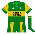 2007: By the time of a 2007 McKenna Cup meeting with Antrim, Donegal had changed their normal kit so the green jersey was paired with the updated shorts.