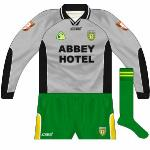 2004: Grey change jersey used when Donegal wore green against Antrim, though not against the green-clad Fermanagh.