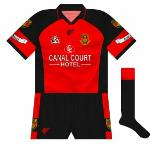 2003: At the end of 2002, Down entered into an agreement with Gaelic Gear, who had secured a licence from the GAA to manufacture county kits.  Though the basic design would stay the same, there were a lot of variations.