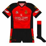 2004: Another change to the collar, with the Gaelic Gear logo changed - different ones on the shirt and shorts, naturally. Inexplicably, the 'Hotel' part of the sponsor did not have a black outline.