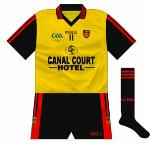 2009: As usual, when the need arose, Down wore a version of their kit in the Ulster colours when coming up against a team they clashed with. Worn during the U21 campaign of 2009, when Down reached the final only to lose to Cork.