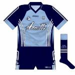 2007: Dublin were seen in a brand-new kit for the 2007 season, featuring the three-stripe design that O'Neills were now using more prominently again. Navy socks were also seen on a Dubs strip for the first time since the 1980s.