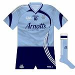 2009: Sky blue socks returned as white featured almost as prominently as navy on this V-necked kit. The asymmetry gave this outfit a refreshing look, and it was a pity in many ways that it lasted for just a year due to the end of the Arnotts deal.