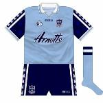 1998-2000: A nice style, with the castle motif repeated down the sleeves and shorts. White collars harked back to the pre-navy days.