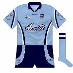 2000-02: Dublin had by now settled into a two-year rotation for shirts, the only county to do so. This was another attractive offering. If one was to have any quibbles, it would be that the stripes reversed on the sleeves compared to the body and the short stripes didn't match either.