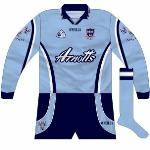 2000-02: Long sleeves. One other unique feature was a little insert inside the 'v' of the collar, something only seen elsewhere on Armagh shirts.