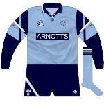 1994-98: Dublin used long sleeves in the '94 All-Ireland final against Down and in league games over the next few years. Oddly, the lower part was navy. Stripes had also been added to the socks.