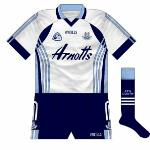 2007: Throughout the lifetime of the kit introduced in 2007, white was seen far more often than navy on Dublin goalkeepers. Largely the same design as the sky blue jersey, it did not have the gradient effect on the sides of the body.
