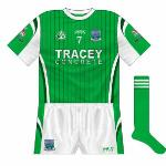 2008: Come championship time, though the design was largely the same, Fermanagh were seen in tighter, round-necked shirts. The cut was also different, meaning that the white stopped at the sleeves.